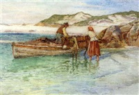 unloading the turf boat by william henry bartlett