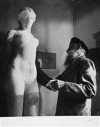 aristide maillol: le sculpteur chez lui à la métairie (travail et méditation), banyuls (5 works) by g. karquel