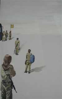 soldiers waiting for the bus by isa markovich