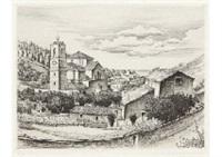 paysage d'espagne (eglise de motrico) (village de motrico(espagne)) by hasegawa kiyoshi