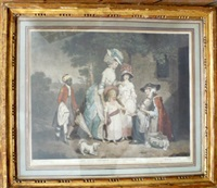 school boys giving charity to a blind man (+ a lady and her children relieving a cottager; 2 works) by john raphael smith