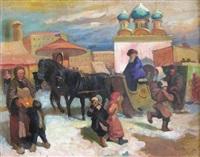 scène en ville en russie by a. sokoloff