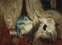 après un bal masqué (+ trois personnages (study), verso) by willem linnig the younger