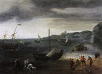 a coastal landscape with two elegant riders and fishermen taking in their catch on a beach with fishing vessels by aert van antum