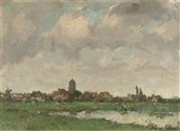 view of a village by a meadow by léon riket