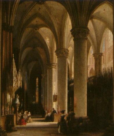 kooromgang in een gotische kerk by jules victor genisson