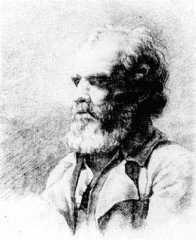 bust length portrait of bearded man by benjamin robert haydon