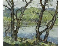 trees at the edge of a river by millard sheets