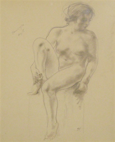 femme nue assise le genou gauche plié by armand rassenfosse