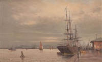 bateau à quai by alfred godchaux