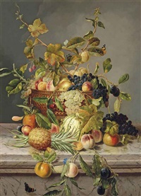 plums, greengages, grapes, peaches, apples, raspberries and cherries in an urn on a marble ledge, with a pineapple, marrow and other fruits beside... by james charles ward