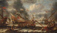 a naval battle on choppy waters by catharina peeters