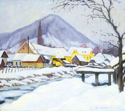 snowy landscape by géza kádár