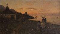 femme et son enfant au bord de la mer by frithjof smith-hald