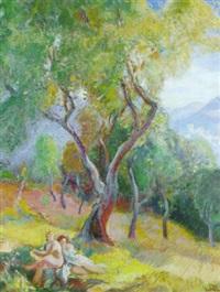 nus dans un paysage by eugène narbonne
