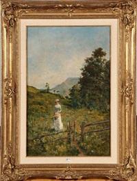 jeune fille cueillant des fleurs en montagne by auguste ernest sembach