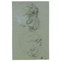 two studies of the head of a girl looking down by jean restout the younger
