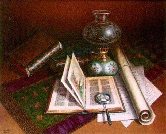 Bodeg n con libros y l mpara by florencio ochoa on artnet for Libros antiguos para decoracion