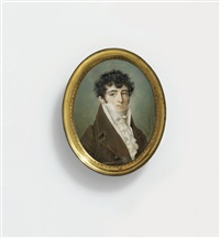 a young gentleman, in olive brown coat, striped waistcoat, white frilled cravat, dark curling hair by louis marie autissier