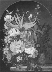 still life of flowers in a niche on a marble ledge by flemish school (20)