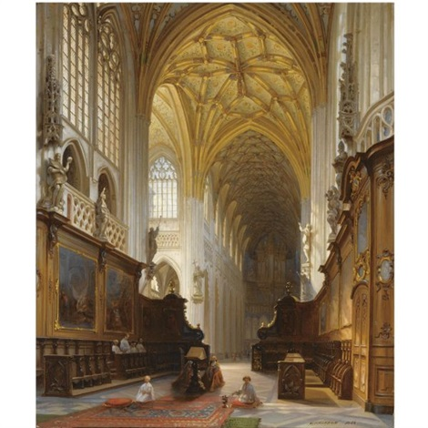 a church interior by jules victor genisson