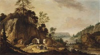 a rocky river landscape with cows and sheep resting by gillis claesz de hondecoeter