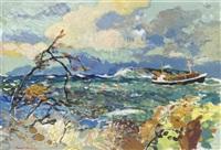 fartyg vid vindpinad kust by harald lindberg