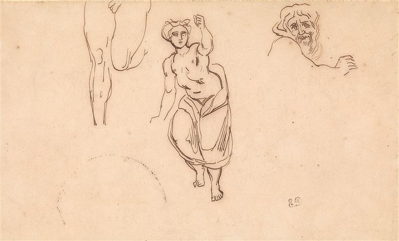 drei figurenstudien nach der antike by eugène delacroix