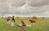 junge pferdehirten in der pußta by hermann reisz