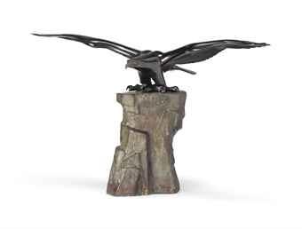 eagle taking off from a tall rock by katori masahiko