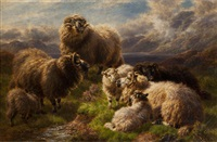 on the moors-loch lyon, perthshire and highland cattle (pair) by william r.c. watson