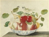 still life with a bird and insects on a delft bowl containing pears, apples, peaches and apricots by johanna helena graff