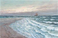 beach scene from skagen by conrad hans selmyhr