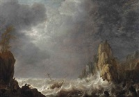 a shipwreck in a storm by simon de vlieger