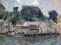 a dock with gray houses, gloucester harbor by paul cornoyer