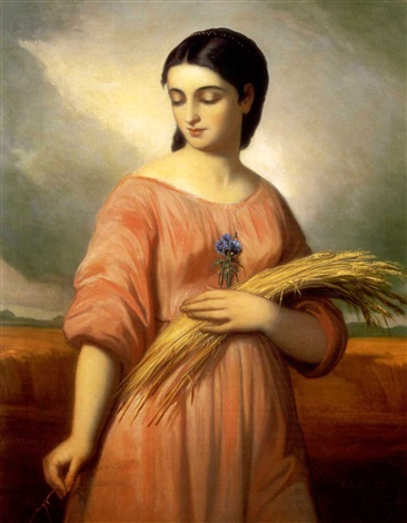 fiatal leány búzavirággal young girl with wheat ear by károly jacobey