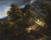 scène d'orage en montagne by francois le moyne