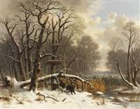 wildschweinrotte im verschneiten winterwald by wilhelm reinhardt