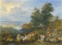 travellers and their herds departing from a village and travellers unpacking their carts and entering a village (pair) by theobald michau