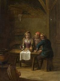 scène d'intérieur d'auberge avec deux paysans et une jeune femme by matheus van helmont