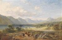 hochlandrinder vor einer weiten seelandschaft by samuel bough