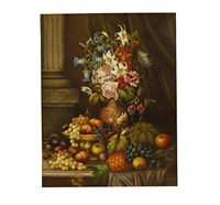 still life of flowers and fruit next a marble column by edwin steele