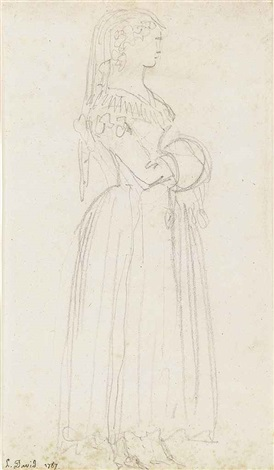 study of a young woman full length seen in profile wearing a veil and carrying a muff and another study of the same figure 2 works by jacques louis david