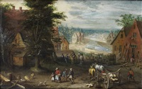 travellers on a cart approaching a village, with a river in the distance by peter gysels