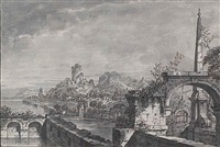 a capriccio landscape with buildings and a ruined castle on a river, a terrace with ruins and an obelisk by antonio visentini