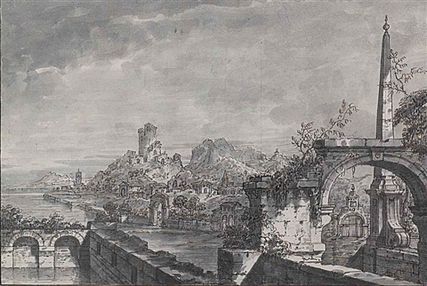 a capriccio landscape with buildings and a ruined castle on a river a terrace with ruins and an obelisk by antonio visentini