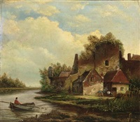 a river landscape with a fisherman in a boat by hermanus jan hendrik rijkelijkhuysen