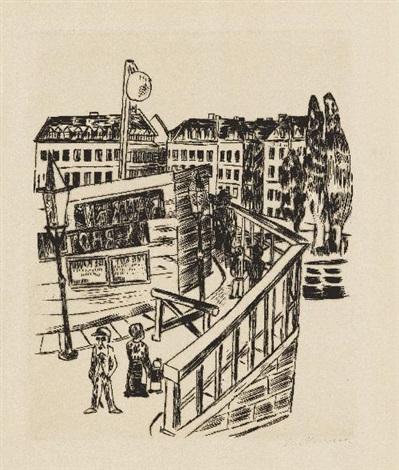 holzbrücke pl10 from zweite jahresgabe des kreises graphischer künstler und sammler by max beckmann