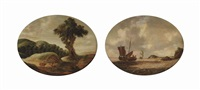 a hilly landscape with travellers resting on a track; a coastal landscape with a small ship and a man-o-war on choppy waters (pair) by gillis (egidius i) peeters