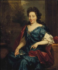 portrait of a lady, possibly hortense mancini, duchess of mazarin (1640-1699), three-quarter-length, seated, in a blue silk dress and red wrap... by pierre mignard